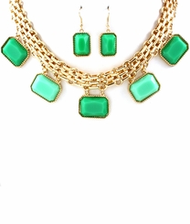 Women's Gold and Green Curb Chain Necklace and Earring Set