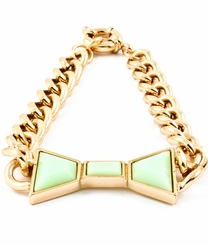 Gold and Mint Curb Chain Bracelet