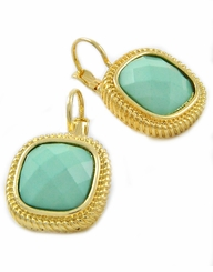 Gold and Mint Lever Back Earrings