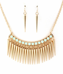 Gold and Mint Spike Necklace and Spike Earring Set