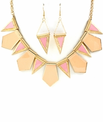 Gold and Peach Abstract Shapes Necklace and Dangle Earring Set