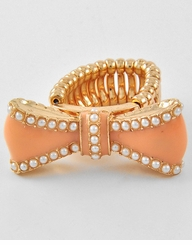 Gold and Peach Acrylic Bow Ring  - Stretch Ring