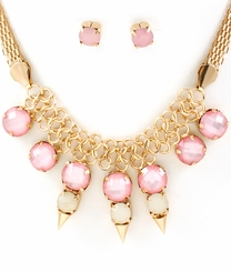 Gold and Pink Circular Links Necklace and Earring Set