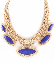 Gold and Sapphire Inspired Curb Chain Necklace