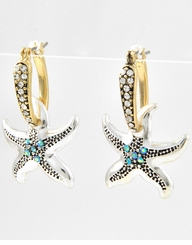 Gold and Silver Starfish Earrings - sold out