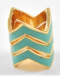 Gold and Turquoise Stackable Ring