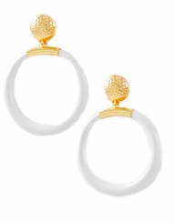 Gold and White Acrylic Post Large Hoop Earrings