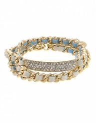 Gold and White Curb Chain Wrapped Bracelet with Crystal Pave Bar
