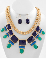 Gold Chain Necklace Set :  Blue and Gold Multi Row