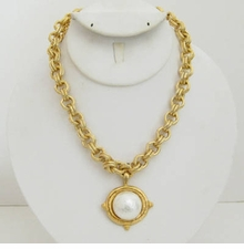 18k Gold - Plated Chain necklace with Pearl Women's Necklace out of stock