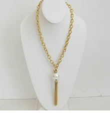 18K Gold Plated Chain w/ White Cotton Pearl Tassle - out of stock