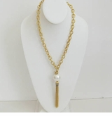 18K Gold Plated Chain w/ White Cotton Pearl Tassle