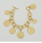 18K Gold Plated Coin Charm bracelet