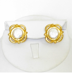 18K Gold-Plated Coin Pearl Pierced Earring SOLD OUT