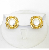 18K Gold-Plated Coin Pearl Pierced Earring