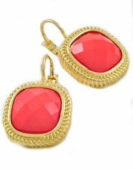 Gold Coral Square Lever Back Earrings