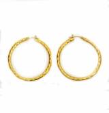 18K Gold-Plated Diamond Cut Hoop Earrings