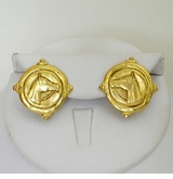 18K Gold Plated Entaglio Equestrian pierced earring - sold out