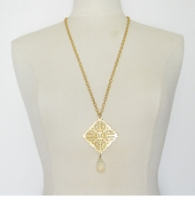 18k Gold Plated Filigree necklace with Crystal drop - sold out