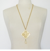 18k Gold Plated Filigree necklace with Crystal drop