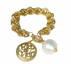 18K Gold Plated & Freshwater Pearl Toggle bracelet out of stock