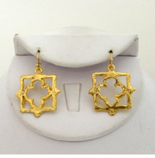 18k Gold Plated Hammered Dangle Clover Earrings - sold out