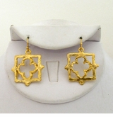 18k Gold Plated Hammered Dangle Clover Earrings