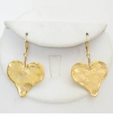 18k Gold Plated Hammered Dangle Heart Earrings