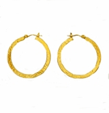 18K Gold Plated Hammered Hoop Earrings - sold out