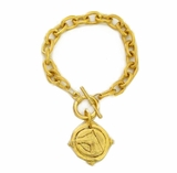 18k Gold- Plated Intaglio Equestrian Toggle bracelet
