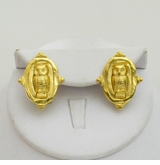 18K Gold Plated Intaglio Owl pierced earrings - LAST PAIR!