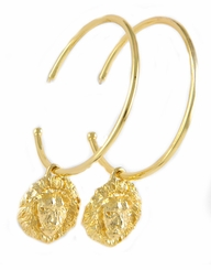 Gold Lion Charm Hoop Earrings - ONE LEFT
