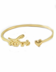 Gold Love and Heart Bracelet Cuff