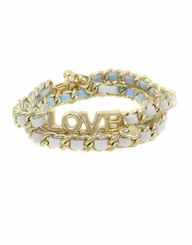 Gold Love Leather Chain Wrap Bracelet