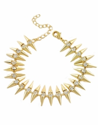 Gold Mini Spike Bracelet with Rhinestones