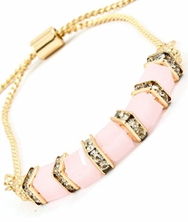 Gold Pink Square Bead and Crystal Adjustable Bracelet
