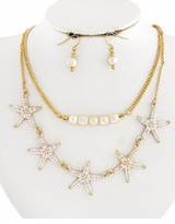 Gold Plated and White Starfish Necklace and Earring Set