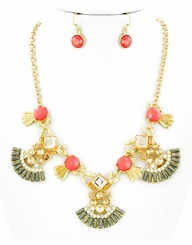 Gold Plated Art Deco Style Pendant Necklace and Earrings