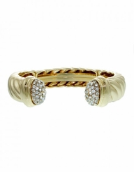 Gold Plated Cable Twist Cuff Bracelet