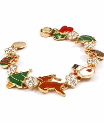 Gold Plated Christmas Charm Bracelet - Magnetic Closure