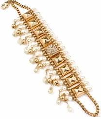Gold Plated Crystal Pearl Pyramid Bracelet