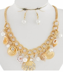 Gold Plated Link Seashell Charm Necklace and Earring Set