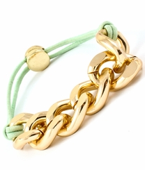 Gold Plated Mint Curb Chain Link Stretch Bracelet