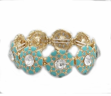 Gold Plated Mint Heart Flowers and Crystal Stretch Bracelet