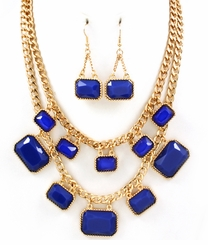 Gold Plated Multi Strand Blue Necklace and Earring Set