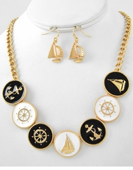 Gold Plated Nautical Necklace and Earring set : Women's Fashion Necklace and Earrings Set