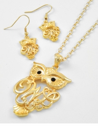 Gold Plated Owl Pendant Necklace and Earring Set ONE LEFT