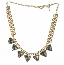 Gold Plated Triangle Shaped Irredescent Stones Necklace