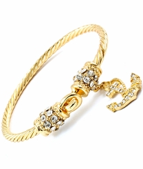 Gold Plated Twist Wire Nautical Anchor Bracelet