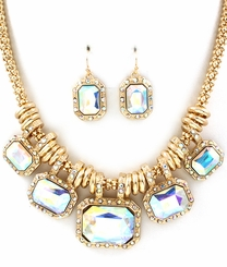 Gold Rectangle Crystal Charm Necklace Earring Set AB